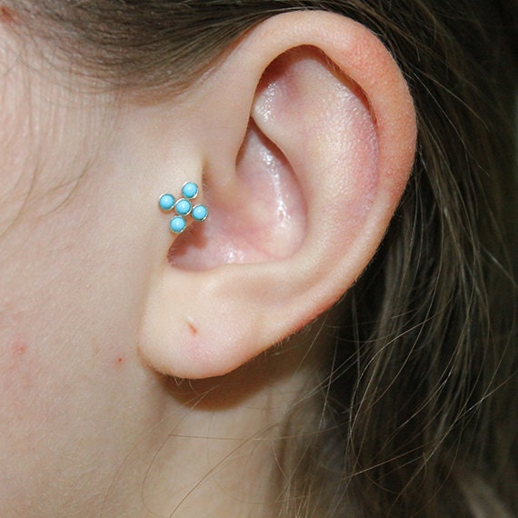 2mm Turquoise Tragus Stud - Silver Nose Stud 16g - Tragus Earring - Cartilage Earring - Forward Helix Earring - Nose Screw - Tragus Piercing