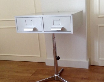 HighBox Turn around. Vintage drawer unit on tripod, adjustable in height. Industrial table, Cabinet.