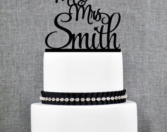Script Mr and Mrs Last Name Wedding Cake Topper, Personalized Script Cake Topper, Elegant Custom Mr and Mrs Wedding Cake Topper - (T185)
