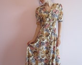 Vintage 90's Flowers Festival Dress Brown Pink Purple Floral Print Short Sleeve Romantic Boho Dress Small Size