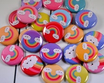 "20 Kawaii Rainbow Pin Back Badges, 1"" Pinbacks, Cute Buttons, Rainbow Party Favors, Kawaii Zipper Pulls"