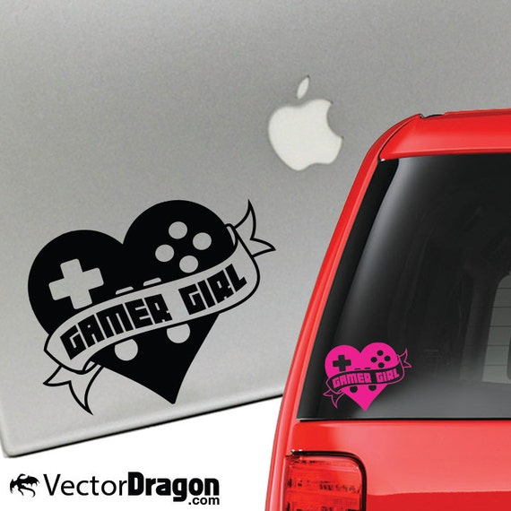 Gamer Girl Heart Tatttoo Vinyl Decal for Laptop or Car