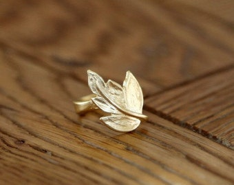 Leaf Ring, Gold Ring, Delicate Ring, Festival Jewelry, 14k Gold Ring, Bohochic Jewelry