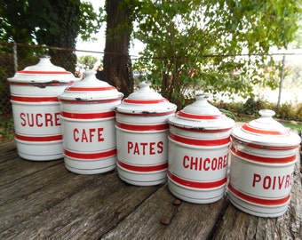 French Enamel Canister Set of 5 Kitchen Canister Graduated Nesting Canisters Red Gold Stripe Chippy Enamelware French Country Shabby Cottage