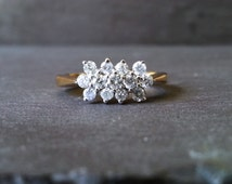 Floral Design Diamond Engagement Ring in 9k or 18k Yellow Gold, Diamond Flower Cluster Engagement Ring