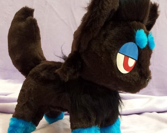 Pokemon inspired shiny Zorua plushie (30x30 cm) made of faux fur, super cuddly!