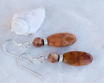 Crazy Lace Agate Earrings, Natural Stone Earrings, Honey Brown Earrings, Sterling Silver Ear Wires, Dangly Earrings, Golden Brown Stones