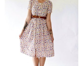 Vintage 90s/1990s floral dress summer buttoned short sleeve small/medium