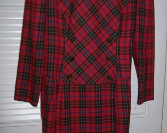 Vintage Talbot's  Stewart Plaid Double Breasted Smart Career Dress - So Sharp 10 Petite