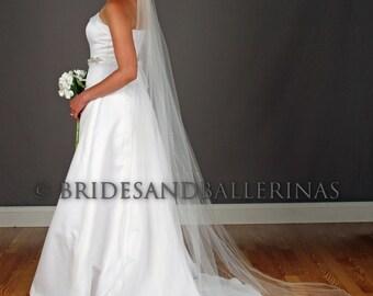 Chapel Length Veil, Pencil Edge Wedding Veil, Romantic Veil, Soft Wedding Veil, Cathedral Veil, Scattered Rhinestones, ANY length!