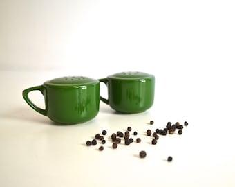 Mid Century Green Ceramic Salt & Pepper Shakers