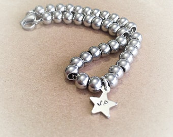 Hand stamped bracelet - Stainless steel bracelet - Personalized bracelet - Star bracelet - Hand stamped stainless steel - Personalized gift