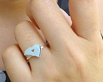Sterling Silver South Carolina Ring / Custom Heart / South Carolina State Ring / Love South Carolina / South Carolina Map Ring