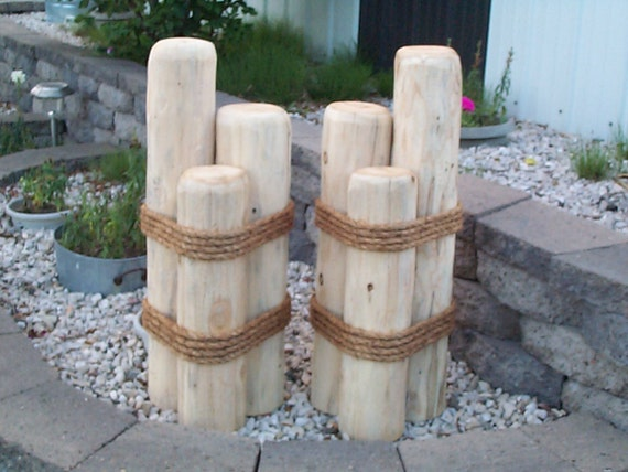 Nautical Outdoor Decor Ideas: 2 Wood Pilings Lawn Or Pier Dock Ornaments Nautical Outdoor