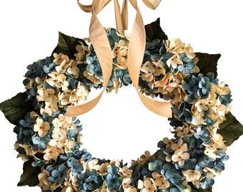 Blended Aqua Blue Hydrangea Wreath | Front Door Wreaths | Blue and Cream Hydrangeas | Spring Wreaths | Outdoor Wreaths | Summer Wreaths