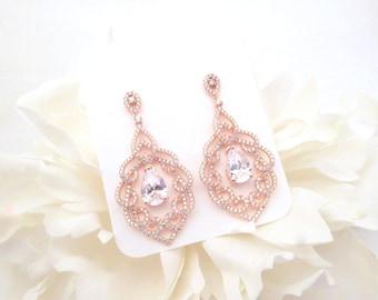 Rose gold Wedding earrings, Rose Gold Bridal earrings, Chandelier earrings, Wedding jewelry, Crystal earrings, Teardrop earrings, Rose Gold