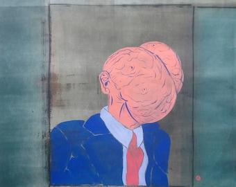 President Scrotum surreal collaborative acrylic painting original art