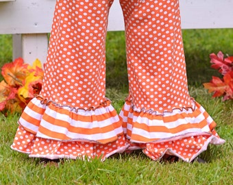 Orange Knit Polka Dot Autumn Thanksgiving Double Ruffle Pants