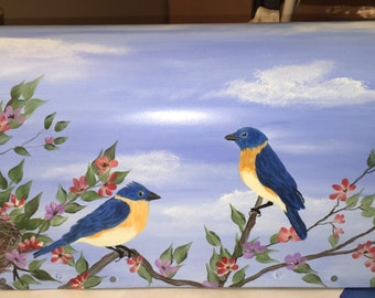 Blue birds of Happiness Hand Painted Mailbox