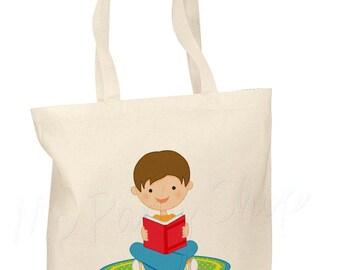 Personalized Cotton Tote Bag Kids Book Bag Custom Book Bag