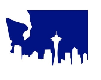 Seattle Skyline State Vinyl Decal
