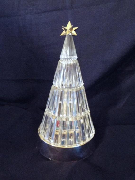 Vintage avon crystal holiday tree w red white blue by
