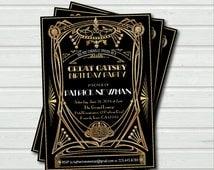 Great Gatsby birthday invitation. Art Deco adult birthday any age, black and gold glam. 16th 21st 30th 40th 50th 60th birthday invite AB037