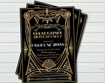 Great Gatsby birthday invitation. Art Deco adult birthday any age, black and gold glam. 16th 21st 30th 40th 50th 60th birthday invite AB037