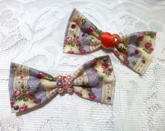 Sweet Lolita Vintage Roses Hair Bow - Medium Size Bow Clip