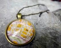 STREETS OF PARIS necklace pendant map city vintage