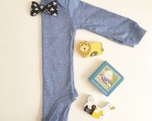 Solid Sky Blue Long Sleeve Bodysuit with Choice of Snap On Interchngble bow tie. Pick from our bow tie collection. Baby GIft