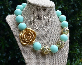 Mint and Gold Bubblegum Necklace, Chunky Necklace, Statement Necklace, Children's Necklace, Girl's Necklace, Chunky Bead Necklace, BN14