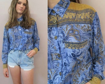 Vintage 80s 90s Blue Ethnic Blouse//sheer blouse boho hippie slouchy oversized long shirt dress gypsy//see measurements