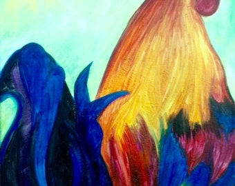 Key West Rooster---16x20 Acrylic Gallery Wrapped Canvas