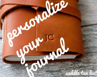 Personalized Leather Journal with Initials Name Date