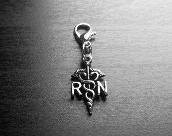 Nurse RN Dangle Charm for Floating Lockets or Zipper Pull-Gift Idea