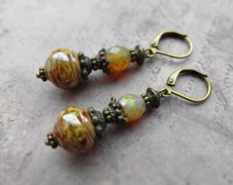 Vintage look earrings / Czech glass, antiqued brass
