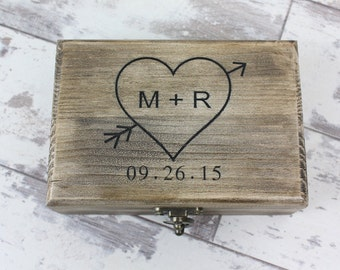 Ring Bearer Box - Rustic Wedding Keepsake Box, Engraved With Your Personalizations