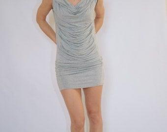 Gray extravagant Dress/ Black mini dress/ unique dress / Gray Casual dress