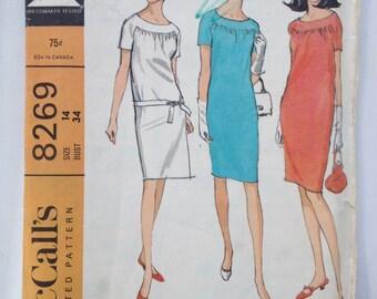 1966 McCalls's pattern # 8269 Size 14, Misses' Dress