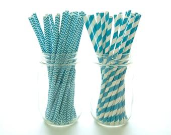 Aqua Blue Party Straws, Small Straws, Large Drinking Straws, Wholesale Paper Straws, 50 Pack - Aqua Chevron & Stripe Straws