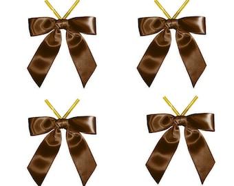50 Brown Satin Ribbon Bows Twist-Tie | Twist Tie Bows | Gift Wrap Decorative Packages Bows | Wholesale Ribbon Bows | Gift Box Decoration