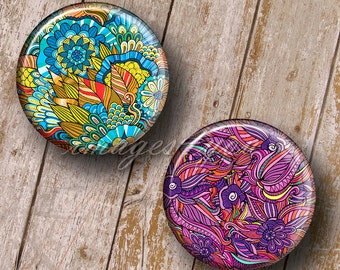 """Floral Ornaments Digital Collage Sheet bottle cap images for pendants, 1 inch circles 25mm 30mm 1.25"""" 1.5"""" round printable download cabochon"""