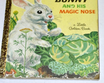 The White Bunny & His Magic Nose. Lily Duplaix. Art by Feodor Rojankovsky. A Little Golden Book. 1957. 1950s. Childrens Books. Retro.