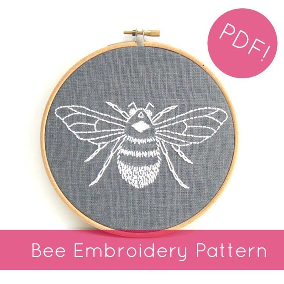 pdf embroidery pattern  bumblebee download  hand