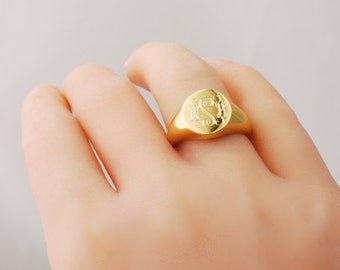 Gold monogram signet ring 14k yellow or rose gold dipped personalized custom engraved monogrammed Initials - Signature ring US 4 5 6 7 8 9