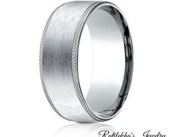 Mens band, White Gold Wedding Band, 14k mens band, handmade, white gold band, wedding ring, band for him