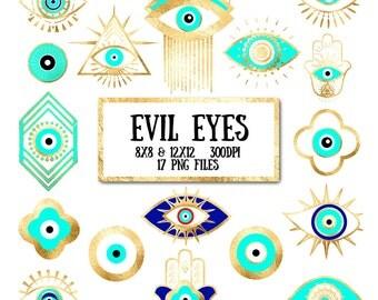 Evil Eye Clip Art - gold foil, evil eye, third eye, hamsa, bohemian, yoga, hippie, clipart for scrapbooking, invitation, photography overlay
