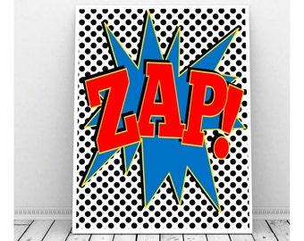 Superhero Wall Art Zap Instant Download, Printable Superhero Art, Wall Art for Kids, Boys Bedroom Art, Girls Bedroom Art,