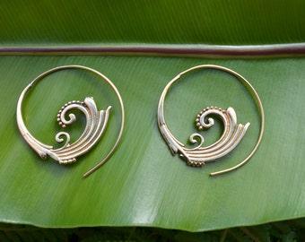 Corolla Brass Earrings - Brass Jewelry, Tribal, Psytrance, Goa, Pixie, Gypsy, Belly Dancing, Doof, Festival, Faerie.